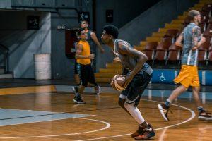 player with basketball